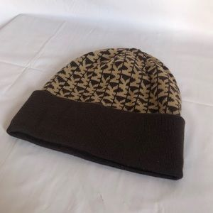 Brown and tan Michael Kors beanie.